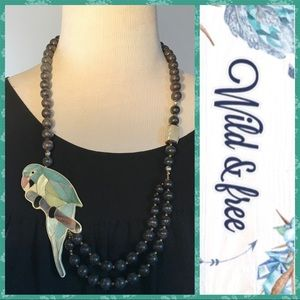 Vintage Bird Parrot Inlaid Stone Shell Necklace